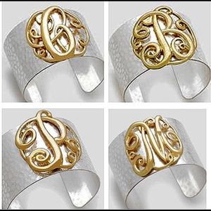 Jewelry - Hammered Large Initial Monogram Cuff, NWT